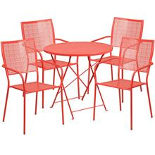 30'' Round Coral Indoor-Outdoor Steel Folding Patio Table Set with 4 Square Back Chairs