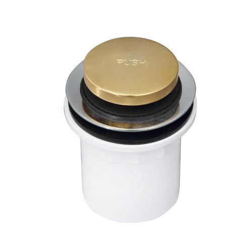 Push Button Tub Drain with PVC Adapter - Polished Brass