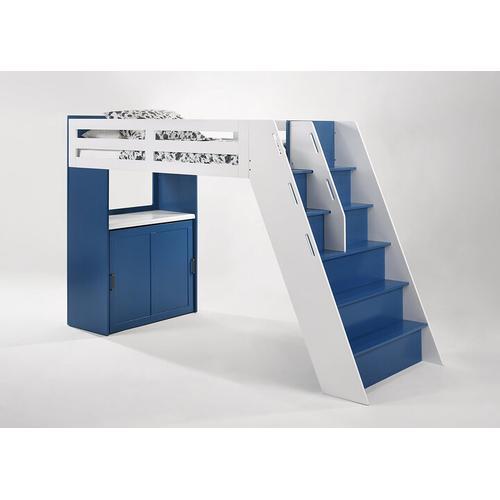 Galaxy Loft Bunk in Panels/Steps in Navy Blue