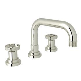 Campo U-Spout Widespread Bathroom Faucet - Polished Nickel with Industrial Metal Wheel Handle