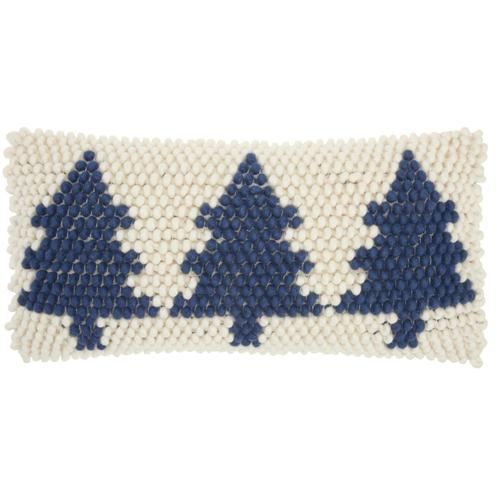 """Home for the Holiday Dc569 Navy/ivory 12"""" X 24"""" Throw Pillow"""
