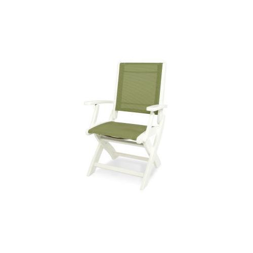 Polywood Furnishings - Coastal Folding Chair in White / Kiwi Sling