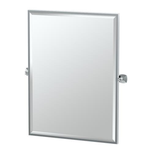 Jewel Framed Rectangle Mirror in Satin Nickel