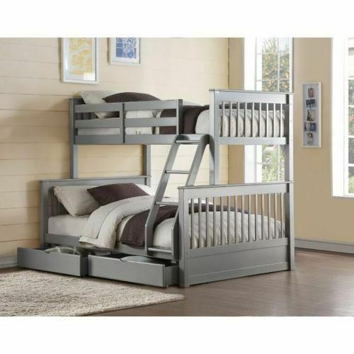 ACME Haley II Twin/Full Bunk Bed w/2 Drawers - 37755 - Gray