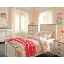 Willowton Twin Panel Bedroom Set: Twin Bed, Nightstand, Dresser & Mirror
