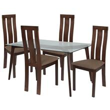 5 Piece Espresso Wood Dining Table Set with Glass Top and Vertical Wide Slat Back Wood Dining Chairs - Padded Seats