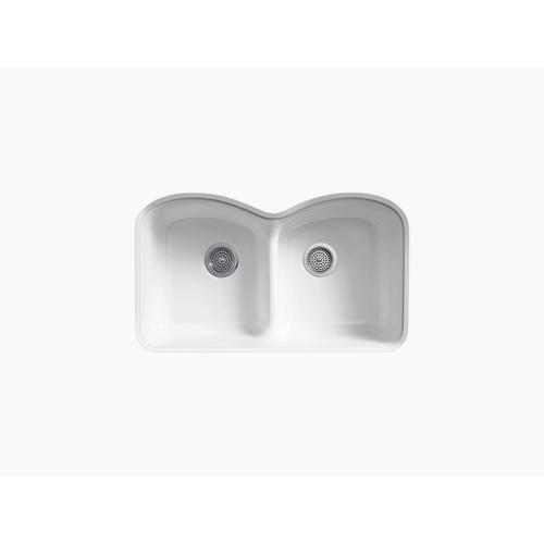 "White 33"" X 22"" X 9-5/8"" Smart Divide Undermount Double-equal Kitchen Sink With 6 Oversize Faucet Holes"