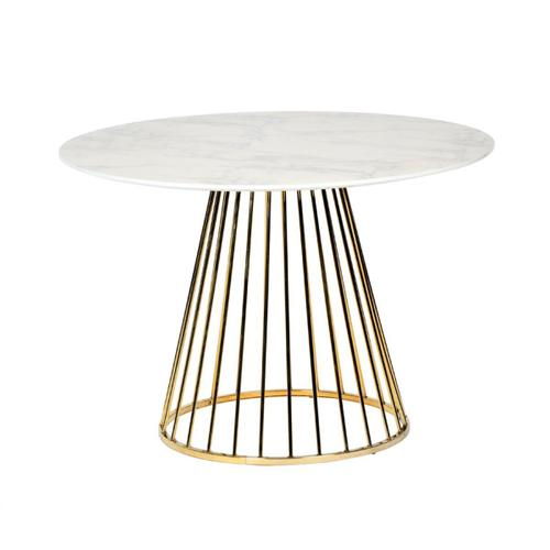 VIG Furniture - Modrest Holly Modern White & Gold Round Dining Table