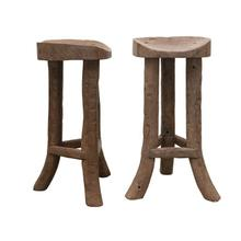 """See Details - 14"""" Round x 30""""H Reclaimed Wood Bar Stool (Each One Will Vary)"""