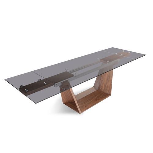 VIG Furniture - Modrest Babia Modern Smoked Glass & Walnut Extendable Dining Table