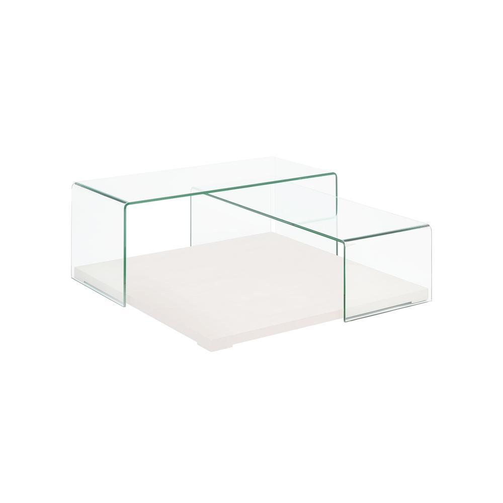 The Kinetic Coffee Table In High Gloss White Lacquer With Clear Glass