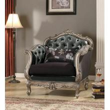 ACME Chantelle Chair w/Pillow - 51542 - Silver Gray Silk-Like Fabric & Antique Platinum