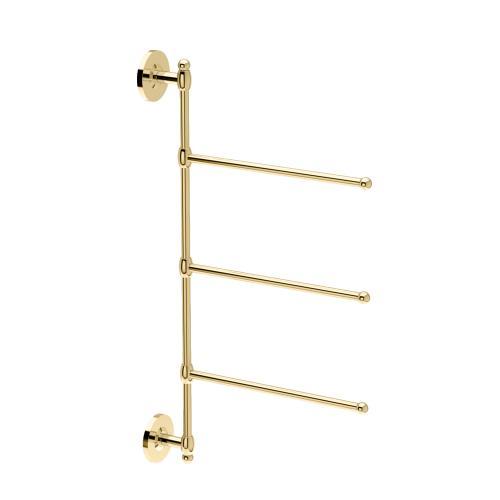 3-Arm Towel Bar in Polished Brass
