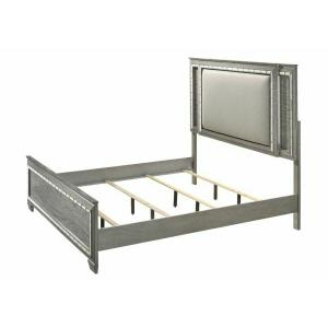 ACME Antares Eastern King Bed (LED HB) - 21817EK - Glam, Transitional - Mirror, Wood (Solid Rbw), MDF, PB - Fabric and Light Gray Oak