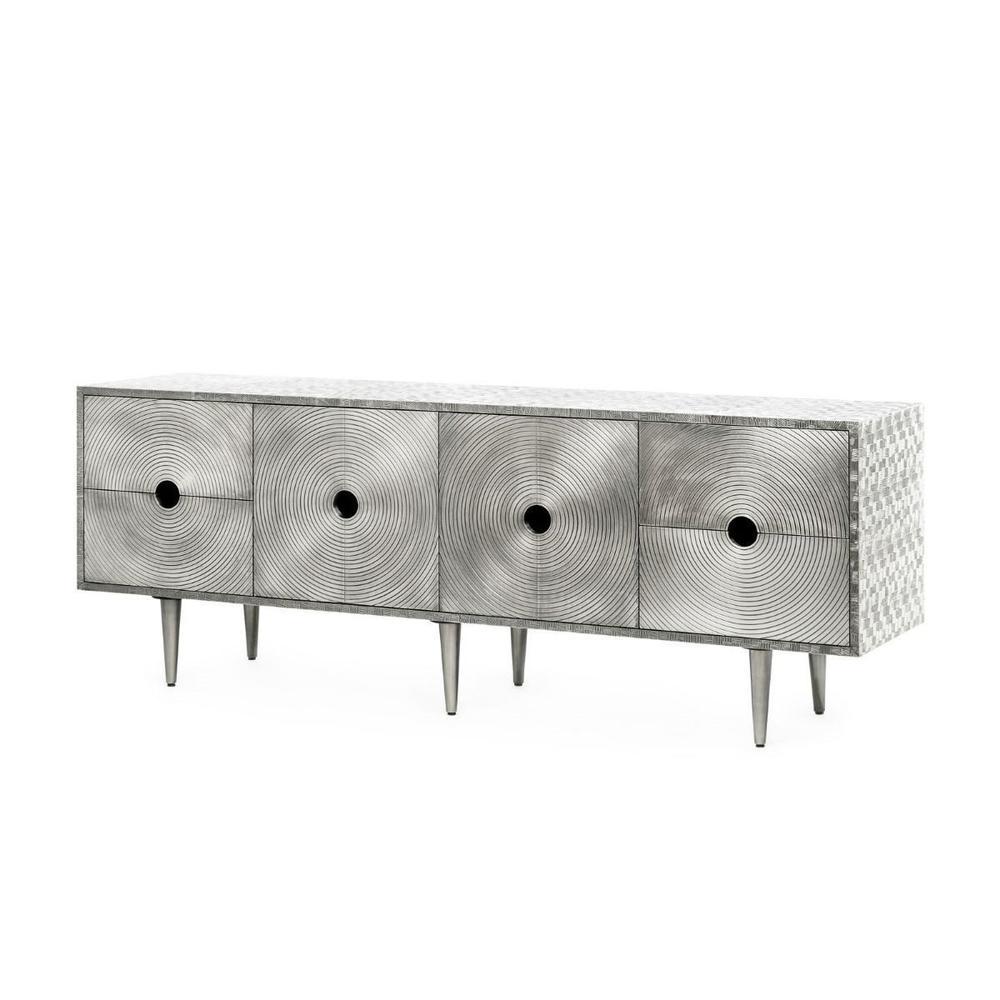 Randers 4-Drawer & 2-Door Cabinet, German Silver