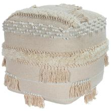 Create your perfect space with the addition of this tasseled Pouf! The comfy, bohemian vibe lends casual glamour to any space. This round, cream toned Pouf is adorned with the perfect amount of tassels. Perfect for use in a living room, entryway, bedro