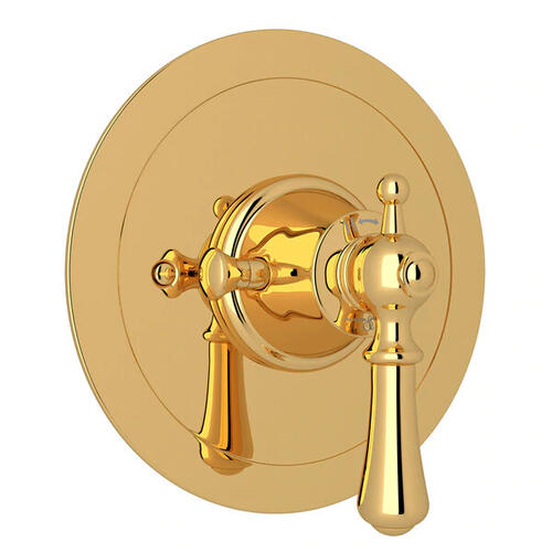 Georgian Era Round Thermostatic Trim Plate without Volume Control - English Gold with Metal Lever Handle