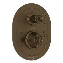 Georgian Era Oval Thermostatic Trim Plate with Volume Control - English Bronze with Cross Handle