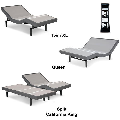 Leggett and Platt - S-Cape 2.0 Adjustable Bed Base with Wallhugger Technology and Full Body Massage, Charcoal Gray Finish, Full XL