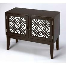 See Details - Glam meets Mid-century modern style with this eye-catching console cabinet. Crafted from rubberwood solids and wood products in a dark Chocolate finish, this stunning design features mirrored door fronts with geometric latticework complete with polished silver hardware. The doors open to reveal a generous storage compartment with one adjustable shelf.