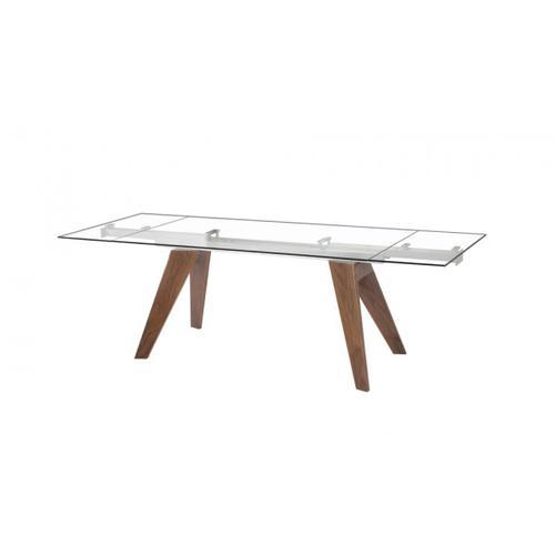 Gallery - Modrest Musser Modern Extendable Glass & Walnut Dining Table
