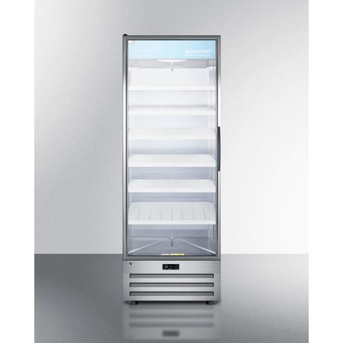 View Product - Full-size Pharmaceutical All-refrigerator With A Glass Door (left Hand Door Swing), Lock, Digital Thermostat, and A Stainless Steel Interior and Exterior Cabinet