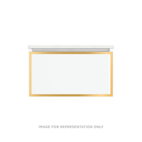 """Profiles 30-1/8"""" X 15"""" X 18-3/4"""" Modular Vanity In White With Matte Gold Finish and Slow-close Plumbing Drawer"""