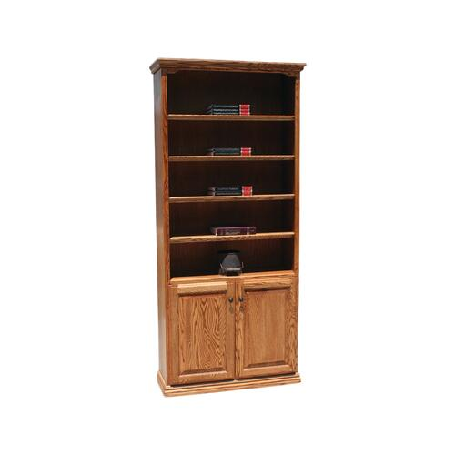 "Traditional Oak 24"" & 36"" 2-Door Bookcase"