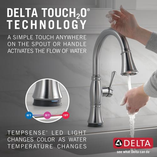 9197tarprdst In Lumicoat Arctic Stainless By Delta Faucet Company In Laguna Hills Ca Lumicoat Arctic Stainless Single Handle Pull Down Kitchen Faucet With Touch 2 O And Shieldspray Technologies