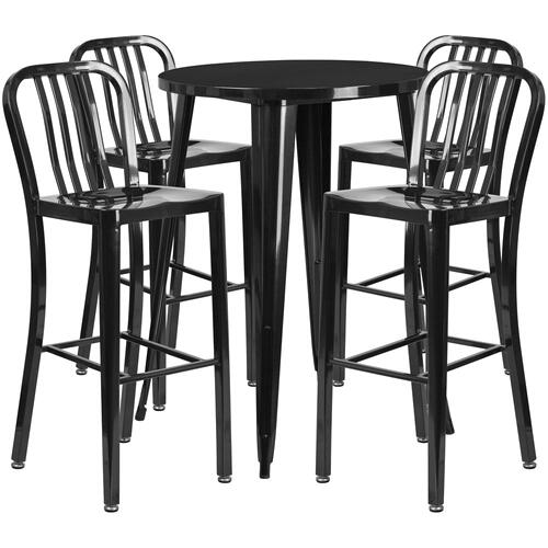 30'' Round Black Metal Indoor-Outdoor Bar Table Set with 4 Vertical Slat Back Stools