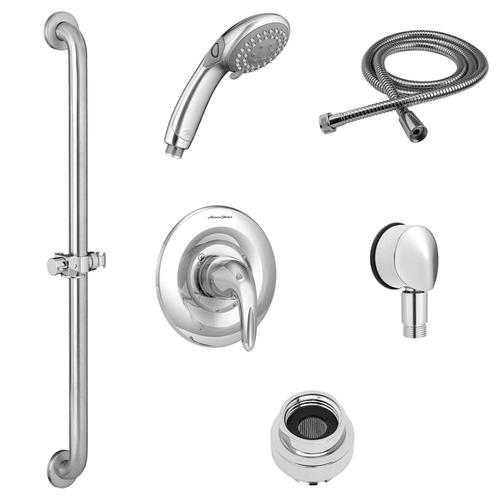 American Standard - Commercial Shower System Kit with Slide Grab Bar and Hand Shower - 2.5 GPM  American Standard - Polished Chrome