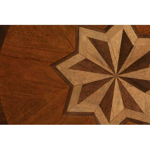 Butler Specialty Company - Selected solid woods and choice cherry veneers. Maple, walnut and cherry veneers inlay design top.