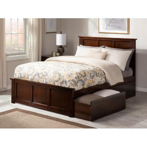 Atlantic Furniture - Madison Queen Bed with Matching Foot Board with 2 Urban Bed Drawers in Walnut