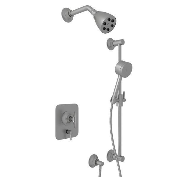 Pewter GRACELINE PRESSURE BALANCE SHOWER PACKAGE with Metal Dial Handle Graceline Series Only