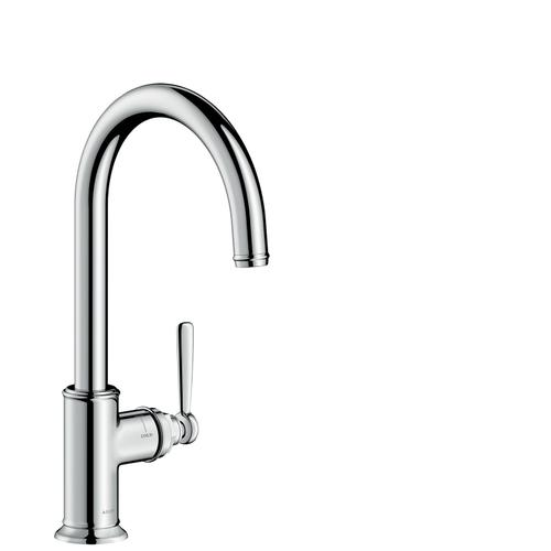 Stainless Steel Finish Single lever kitchen mixer 260 with swivel spout