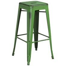 30'' High Backless Distressed Green Metal Indoor-Outdoor Barstool