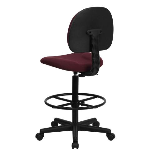Burgundy Fabric Drafting Chair (Cylinders: 22.5''-27''H or 26''-30.5''H)