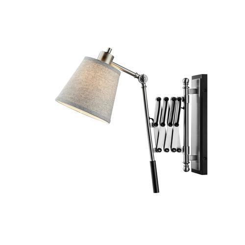 Lite Source - Extendable Wall Lamp, BN/BLACK/L.GREY Fabric Shd, E27 A 40w