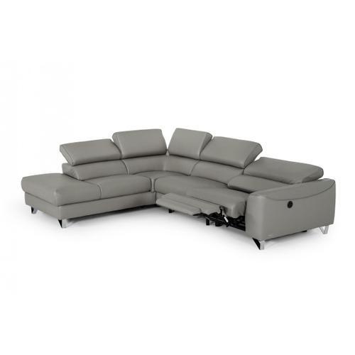 VIG Furniture - Divani Casa Versa - Modern Grey Teco-Leather Left Facing Sectional Sofa with Recliner
