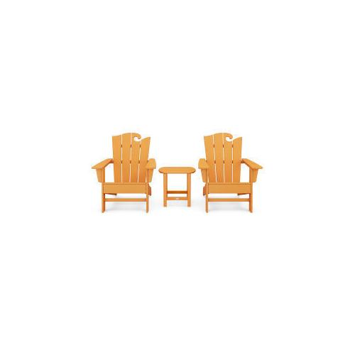 Polywood Furnishings - Wave 3-Piece Adirondack Set with The Ocean Chair in Tangerine
