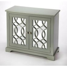 """See Details - Looking for an eye-catching storage chest that lends a pop of color for any room in your home"""" With its mirror panel doors that reflect the chaming curved latticework details, this accent chest is both beautiful and functional. Features a clean-lined cabinet that lends the best of Transitional charm into your home. The interior cabinet space offers shelves and storage space. A great gem of color and a place for your storage solutions."""