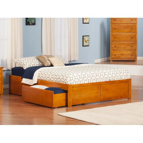 Atlantic Furniture - Concord King Flat Panel Foot Board with 2 Urban Bed Drawers Caramel Latte