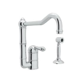 Acqui Single Hole Column Spout Kitchen Faucet with Sidespray - Polished Chrome with Metal Lever Handle