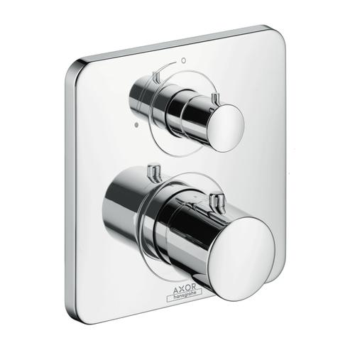 Brushed Black Chrome Thermostat for concealed installation with shut-off valve