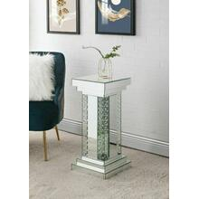 ACME Nysa Pedestal, Mirrored & Faux Crystals Inlay - 97941