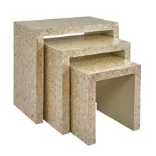 Global Archive Capiz Basket Weave Nesting Tables (set of 3) - Sand