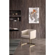 View Product - Modrest Yukon - Modern Beige Bonded and Antique Brass Dining Chair