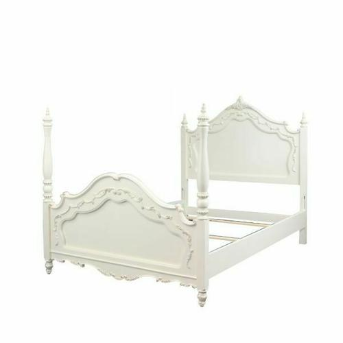ACME Pearl Full Bed (Poster) - 00995F - Pearl White & Gold Brush Accent