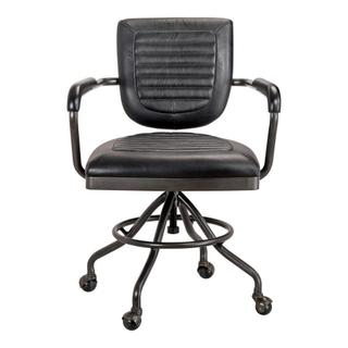 See Details - Foster Swivel Desk Chair Onyx Black Leather