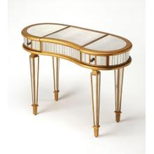 See Details - This glamourous and curvy vanity with mirrored top, front and sides in a complementary gold trim, square tapered legs, makes a strong style statement while providing ample storage. It includes two drawers, plus a storage compartment beneath the hinged cen